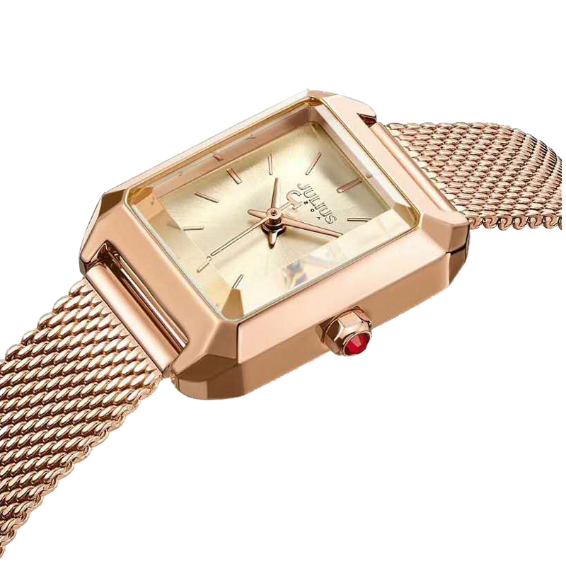 New Simple Cutting Glass Women's Watch Japan Quartz Hours Fashion Dress Stainless Steel Bracelet Birthday Girl Gift Julius Box glass girl
