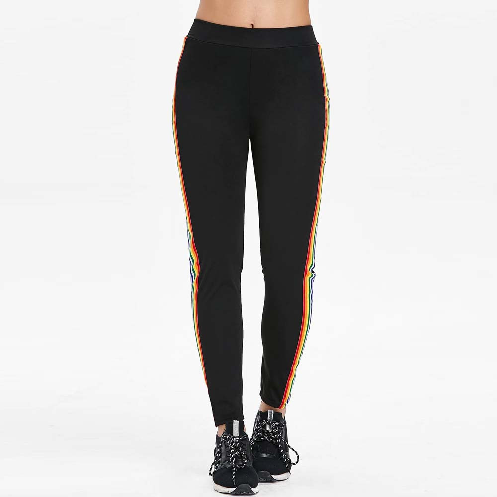 2018 Womens Casual Color Block Stripe Sports Pants Harem Pants Jogger Pants Sweatpants Sportswear Rainbow Pants Trousers Female
