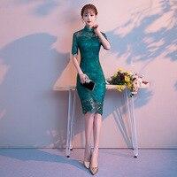 Green Traditional Chinese Dress Qipao Ladies Evening Dresses Vintage Cheongsam Women Bride Short Lace Cheongsam Modern Dress