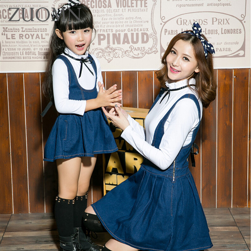 New Mother Daughter Dresses Fashion Denim Dress Family Look Matching Outfits Clothes Mom And Daughter Tops Cotton Clothing GH218