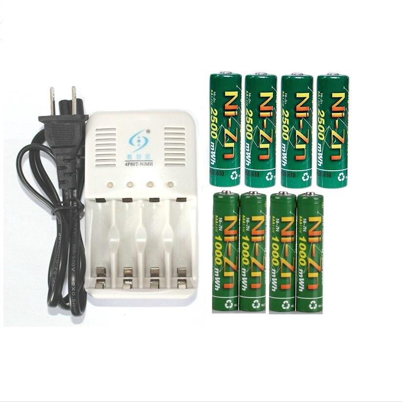 Powerful 4pcs1.6v aa 2500mWh rechargeable Ni-Zn battery+4pcs aaa1000mWh1.6v rechargeable battery+1pc aa/aaa charger+2storage box 4pcs nizn aa rechargeable batteries 2500mwh 1 6v 4pcs 900mwh aaa ni zn rechargeable battery 1pcs ni zn aa aaa battery charger