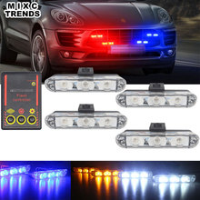 MIXCTRENDS 4Pcs 3led DRL Ambulance Police Flasher Strobe light Bar 12V Car LED Warning light for Truck Motorcycle Emergency lamp