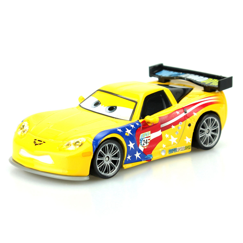 Disney Pixar Cars Cartoon Car American Racer Jeff Gorvet 1:55 Scale Diecast Metal Alloy Modle Car Cute Toys For Children Gifts