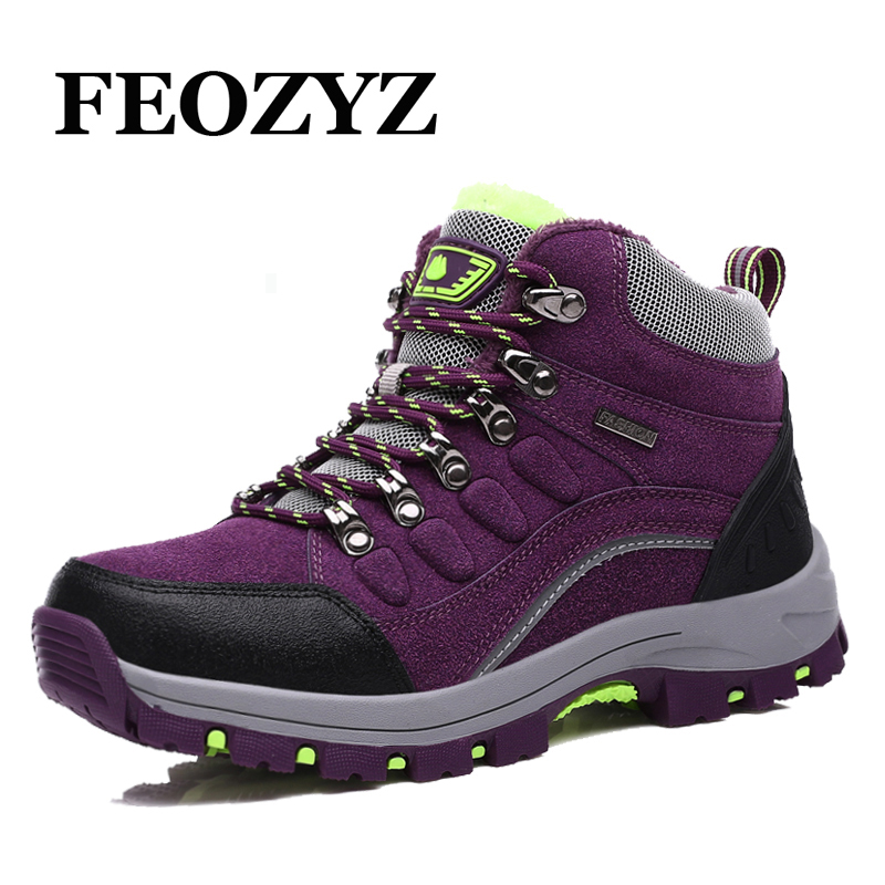 FEOZYZ Warm Winter Women Outdoor Shoes Genuine Leather Waterproof Hiking Shoes Fur High Top Hiking Boots Mountain Trekking Shoes yin qi shi man winter outdoor shoes hiking camping trip high top hiking boots cow leather durable female plush warm outdoor boot