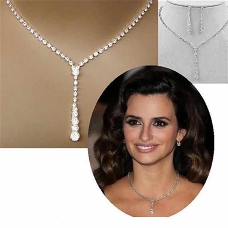 2018 Dubaj Zestawy Biżuterii Biżuteria Nowy Mody zestaw ślubny Naszyjnik Pełna Shining choker kryształowy Komunikat dla Kobiet Hot