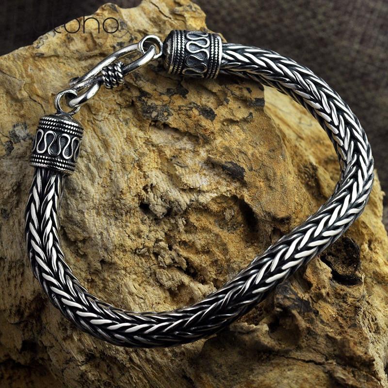 Real 100% 925 Sterling Silver Bracelets for Men Hemp Rope Vintage Thai Silver Men's Coarse Keel Bracelets Valentine's Day Gifts thai silver bracelets