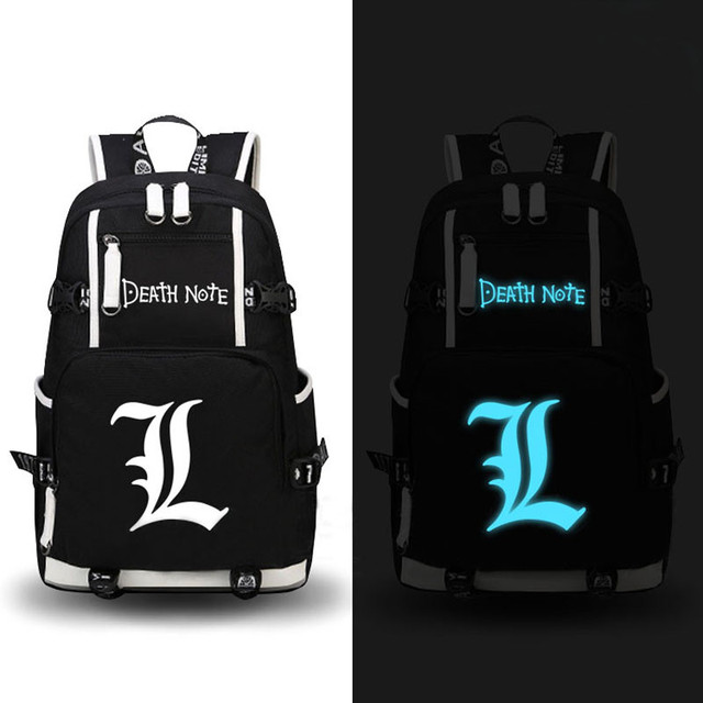Anime Death Note Luminous Printing Backpack Mochila Canvas School Bags Fashion Backpacks for Teenagers