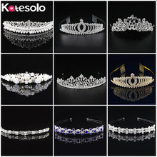 New Gold/ Silver Baroque Queen King Hair Jewelry Pearl Crystal Tiara And Crown Headband For Women Bride Wedding Drop Shipping(China)