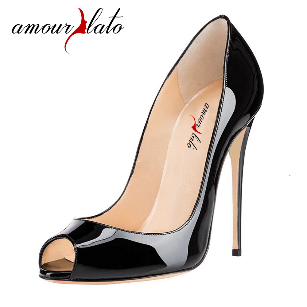 Amourplato Women Peep Toe High Heels Sexy Patent Pumps Slip On Cut Out Stilettos Party Evening Dress Shoes 12cm Thin Heels Pumps