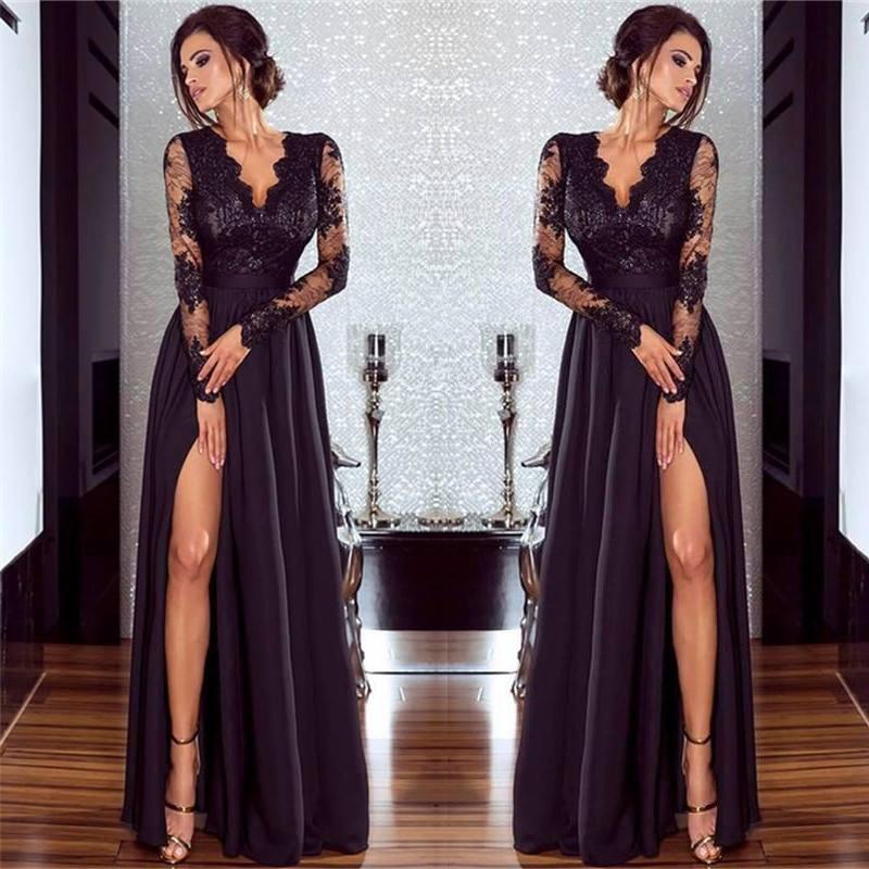 Elegant Muslim   Evening     Dresses   2019 A-line V-neck Long Sleeves Lace Slit Islamic Dubai Saudi Arabic Long   Evening   Gown Prom   Dress