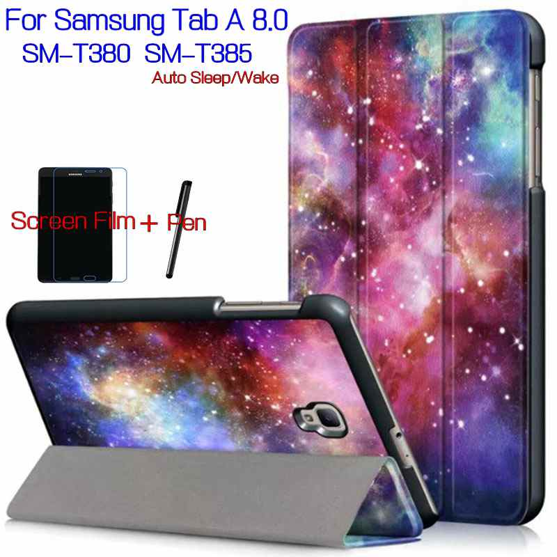 Case for Samsung Galaxy Tab A T380 T385 8.0 Tablet ,iBuyiWin Magnetic Smart PU Leather Funda Cover Shell+Free Screen Film+Pen ultra thin magnetic stand smart pu leather cover for samsung galaxy note 10 1 2014 edition tablet funda case free stylus pen