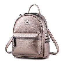 купить Mini Backpack Small Backpack Women School Backpacks Bolsa Mochila Rivet PU Leather Bookbag Young Girl Zipper Lady Mini Bag 2019 по цене 1896.73 рублей
