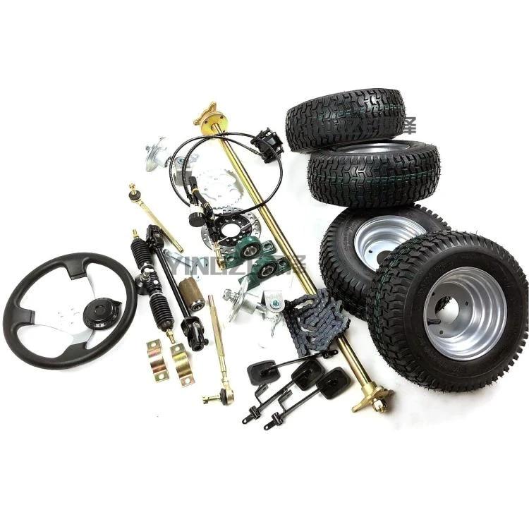 go kart karting atv utv 1m rear axle steering rack knuckles tie rod steering wheel brake pump with 6 inch wheel tires