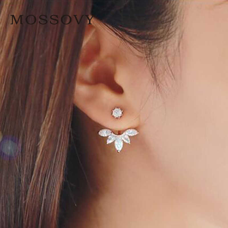 Mossovy Rose Gold Silver Flower Stud Earrings Fashion Jewelry for Women Accessories Charms Zircon Earring Aretes De Mujer