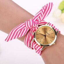 New Top Selling Fashion Women Stripe Floral Cloth Quartz Dial Bracelet Wristwatch Watch Gift 1pcs Dec 14