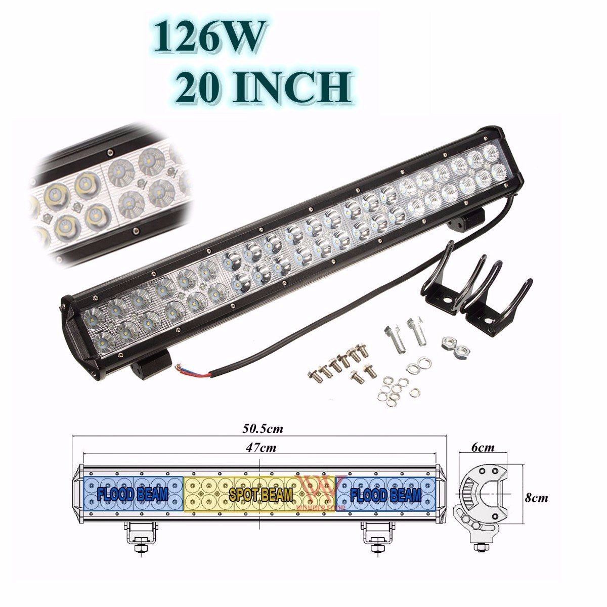 20 Inch 126W LED Spot Flood Combo Driving Work Light Bar ATV SUV 4WD Boat 12/24V Front Bumper License Mount Bracket Holder eyourlife 23 25 inch 120w fog lamp spot wide flood beam combo work driving led light bar for offroad suv atv 12v 24v 99