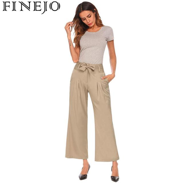 FINEJO Women Pleated Tie Up Solid High Waist Office Casual Loose with Pockets