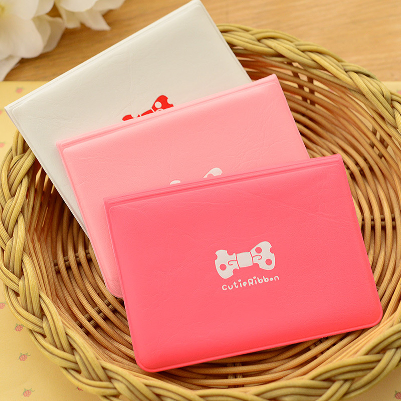 Cutie Ribbon PU Leather Fashionable Girl Name Card Holder , Bow Card Cover Case For ID / Transportation / Bank Card