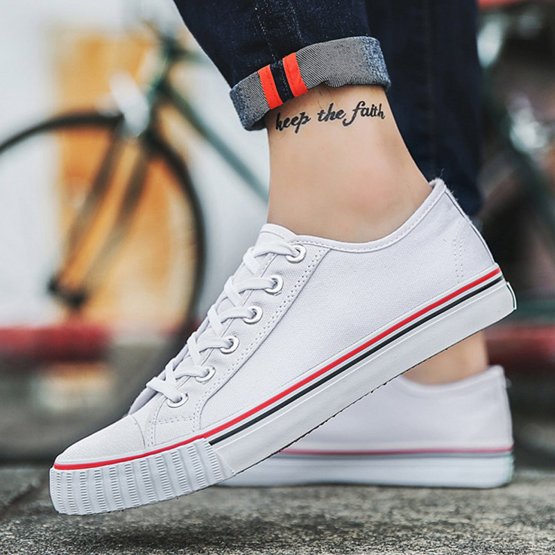 Canvas Shoes Men Sneakers Low Top Solid White Casual Shoes Lace up Teens Flat Black White shoes