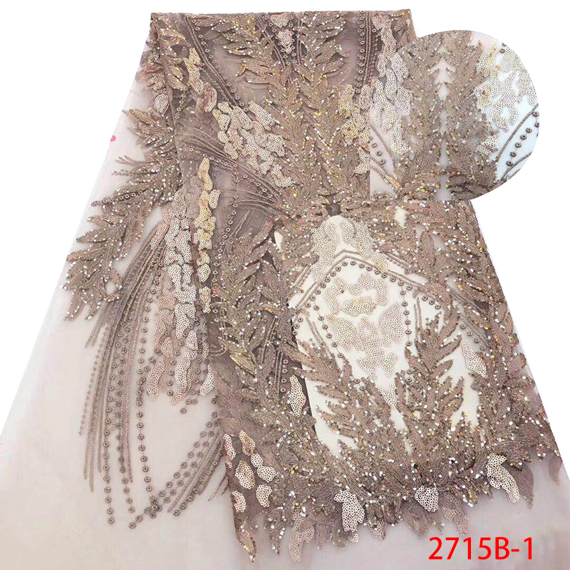 2018 French Sequence Tulle Lace,High Quality Lace Nigerian Fabrics, African Sequins Lace Fabric For Wedding KS2715B-1