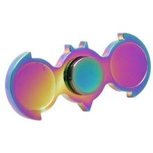 สีรุ้งคู่นกปลายนิ้วGyroscopeของเล่นโลหะมือปั่นสำหรับออทิสติก/สมาธิสั้นEDCประสาทสัมผัสอยู่ไม่สุขปินเนอร์โฟกัสของเล่น