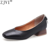 ZJVI women 3cm square mid heels pumps 2018 summer autumn woman wrok shoes ladies womens fashion female bowtie black party pumps