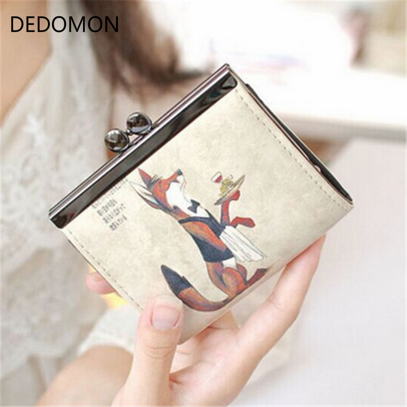 Cartoon Women Wallet Leather Women Purse Fox Female Bags Coin Purse Cute Small Wallets Short Animale Prints Girls Money Bag Lady dachshund dog design girls small shoulder bags women creative casual clutch lattice cloth coin purse cute phone messenger bag