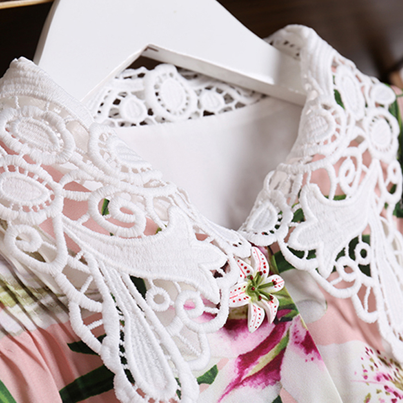 RoosaRosee rojo moda pasarela Mujer Flor botones vestido Vintage estampado manga corta elegante Boutique Vestidos Fiesta Vestidos-in Vestidos from Ropa de mujer    3