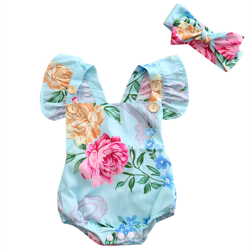 2018 Lovely Newborn Baby Girl Clothes Floral Sleeveless Cotton   Romper   Jumpsuit Headband Outfits Sunsuit