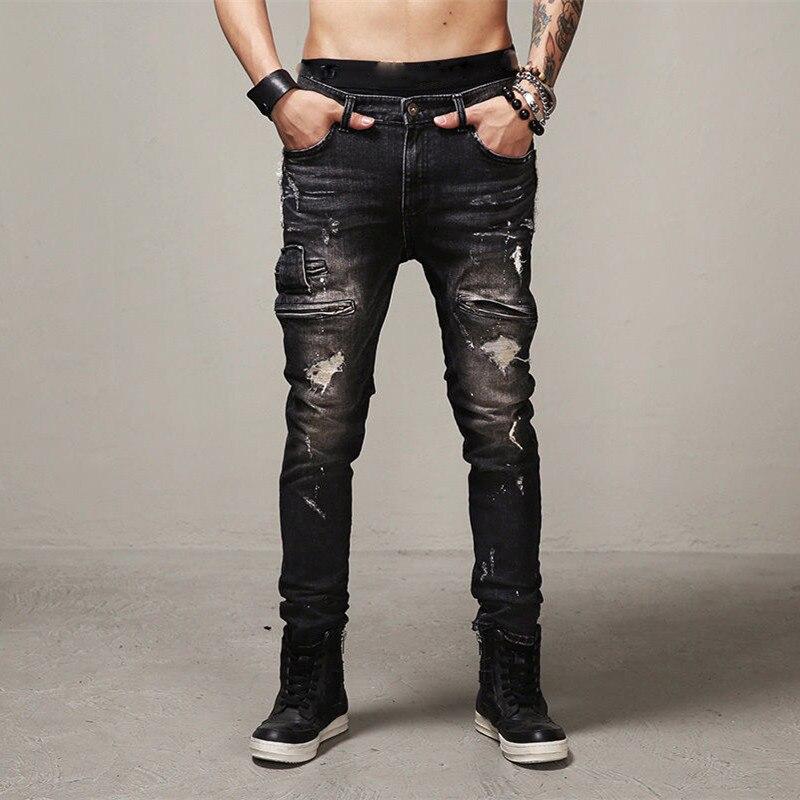 Arranco Jeans Tipo Hip Hop De Los Hombres De Moda Botin Biker Jeans Agujero De Algodon Negro Marca Estilo Kanye West De Denim Pantalones De Carga Denim Cargo Pants Motorcycle Denimjeans Men Swag