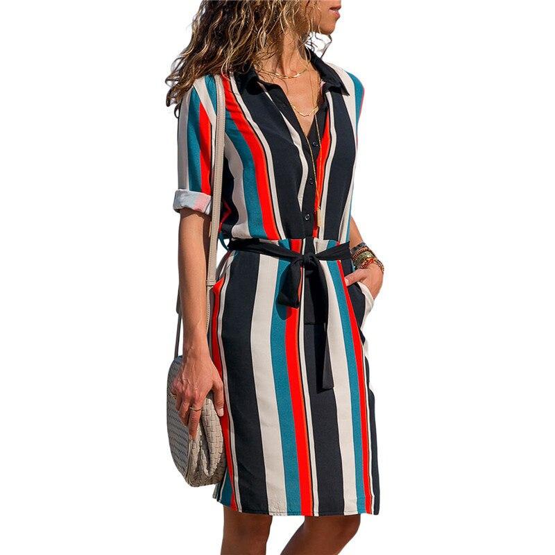 New Autumn Summer Dress Women Striped Print Lace Up Beach Dress Party Dress With Button Knee Length Vestidos Verano Plus Size