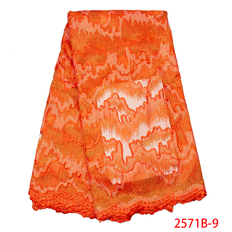High Quality Burnt Orange Nigerian Tulle Lace Fabric 2019 Latest Popular African Mesh Net Lace Fabric