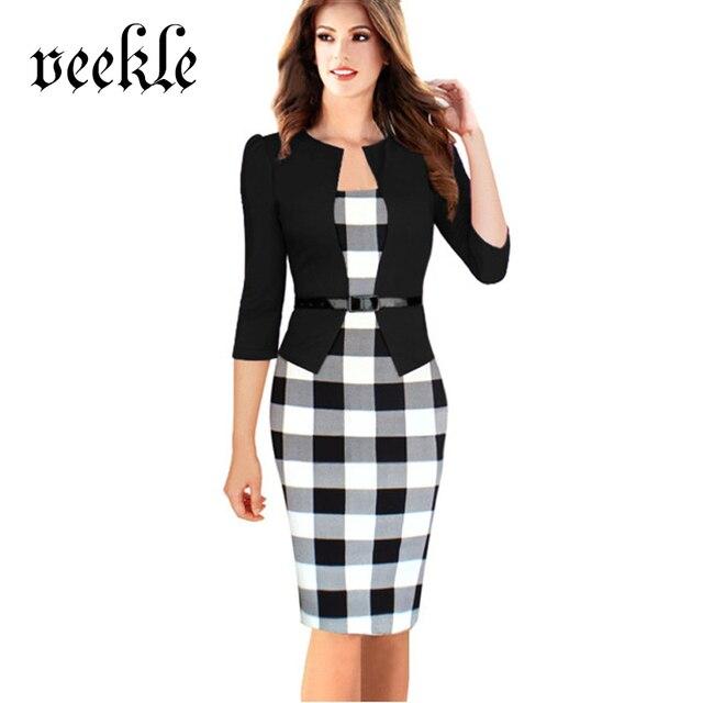 VEEKLE Women Elegant Office Dress Plus Size Wear To Work Plaid ...