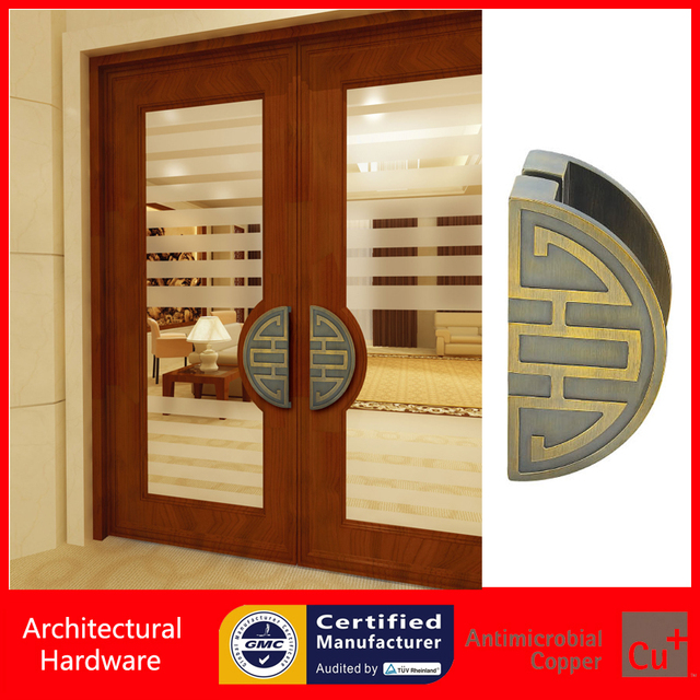 Luxurious Entrance Door Handle Solid Aluminium Alloy Bronze Pull Handles  For Entry/Front Wooden/