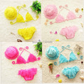 new 2017 summer children kids bikini swimwear two piece swimsuit swimming bathing for baby bebe girls with hat retail wholesale