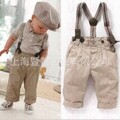 Free shipping 2016 Gentleman baby suit/boys suit: khaki long pants with braces +Lapel short-sleeved T-shirt with