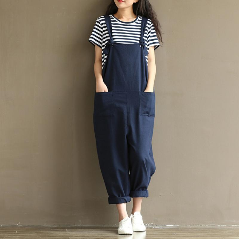 87fadc019574 Stylish Vintage Women Casual Loose Navy Cotton Jumpsuit Strap Dungaree  Trousers Overalls