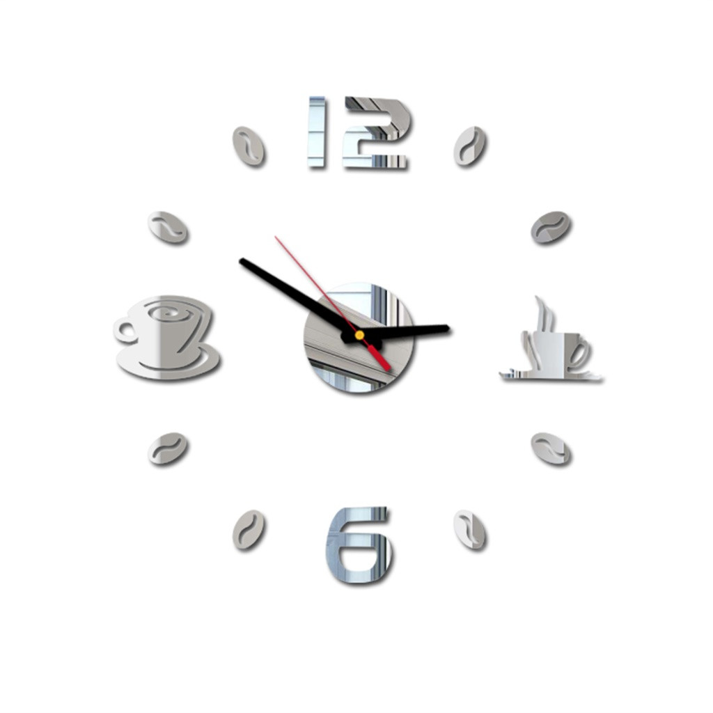 Mug Wall-Clock Coffee-Bean Kitchen Giant Modern-Design Large Frameless New DIY Cafe title=