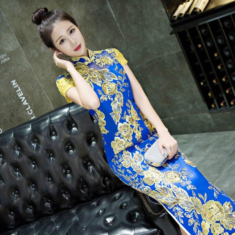 Dentelle bleue Cheongsam robe nationale chinoise Qipao modèle moderne robe de mariée traditionnelle femmes Phoenix broderie mariée YSB - 2
