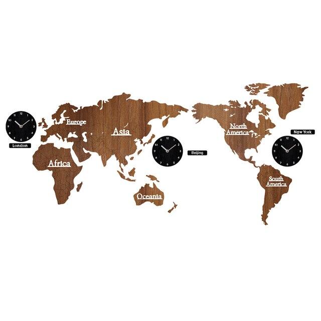 Creative עולם מפת קיר שעון עץ גדול עץ שעון קיר שעון מודרני אירופאי עגול אילם relogio דה פארדה