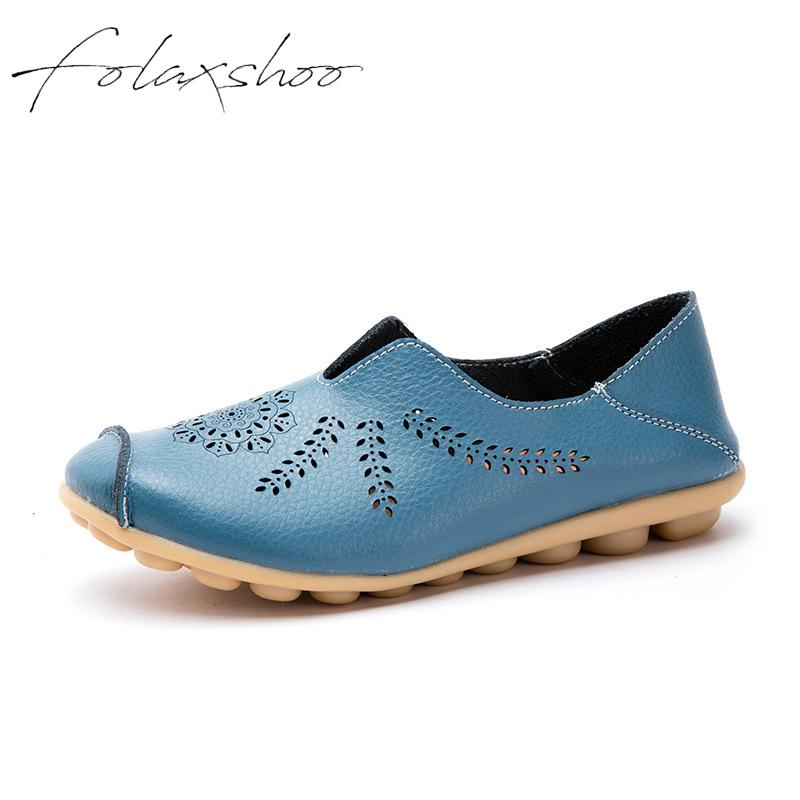 Folaxshoo Women's Breathable Natural Walking Flat Loafer Cowhide Leather Casual Flat Driving Loafers Driving Moccasin Shoes