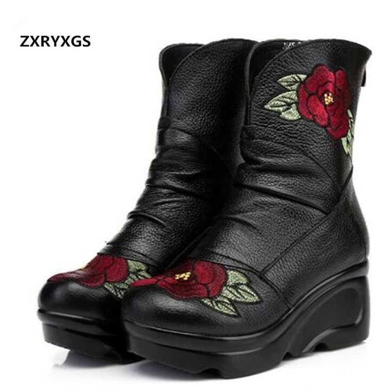 High end elegance Embroidered Cow Leather Shoes Women Boots Fashion Wedding Shoes 2019 Spring Winter Wedges