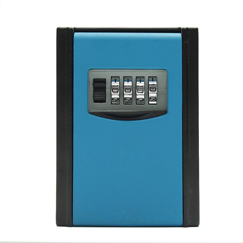 Portable Safe Box Wall Mounted 4 Password Keys Combination Lock Metal Alloy Storage Store Key Storage Organizer Boxes