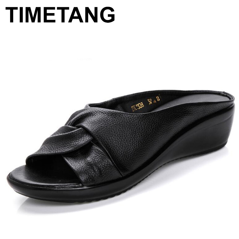 TIMETANG Summer New Leather Wedges Sandals Comfort Mother Shoes Woman Platform Flip Flops Slip On Creepers Flats C195 phyanic crystal shoes woman 2017 bling gladiator sandals casual creepers slip on flats beach platform women shoes phy4041