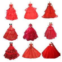 red Elegant Summer Clothing Gown For doll Handmake wedding princess Dress Doll Party Dress elegant Wedding Dress(China)