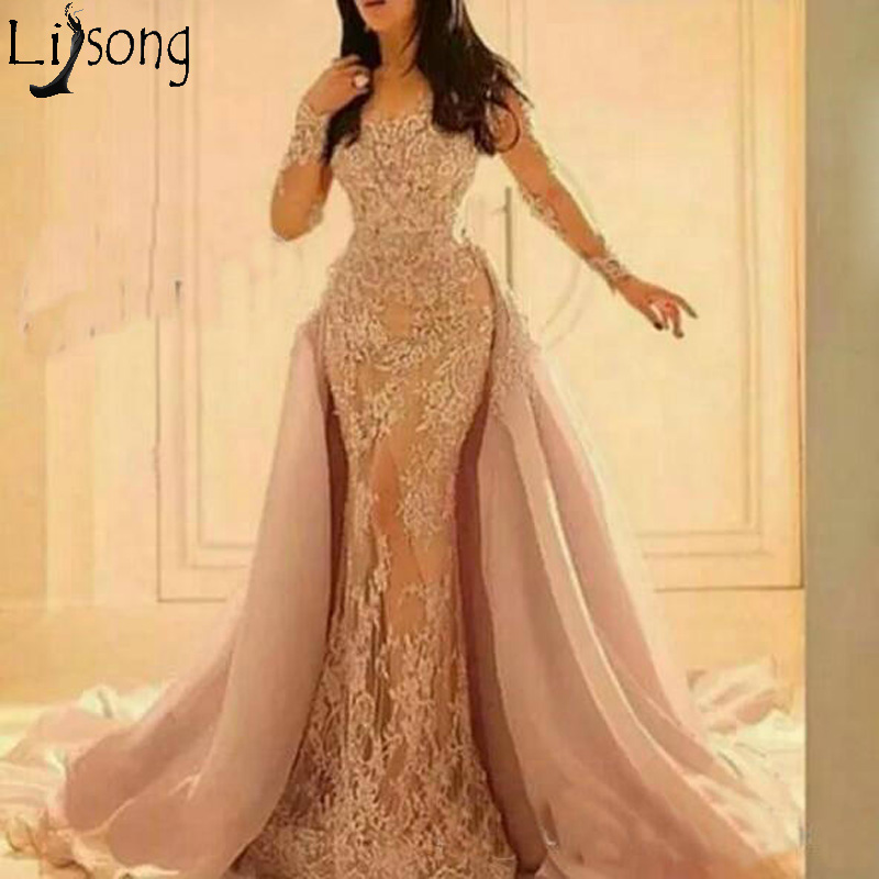 Elegant Overskirts Mermaid   Prom     Dresses   with Detachable Train Illusion Long Sleeve Evening   Dress   Lace Applique Formal Party Gown