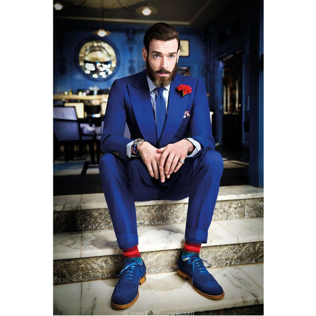 Fashion Custom Made Blue Men's Wedding Suits Tuxedos Bridegroom Suits Groomsman Suit Formal Suits