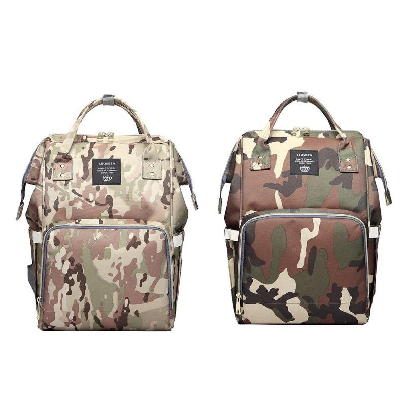 LEQUEEN Fashion Waterproof Mummy Diaper Bags Camo Print Backpack Travel Large Capacity Baby Care Baby Bag Nappy Backpack