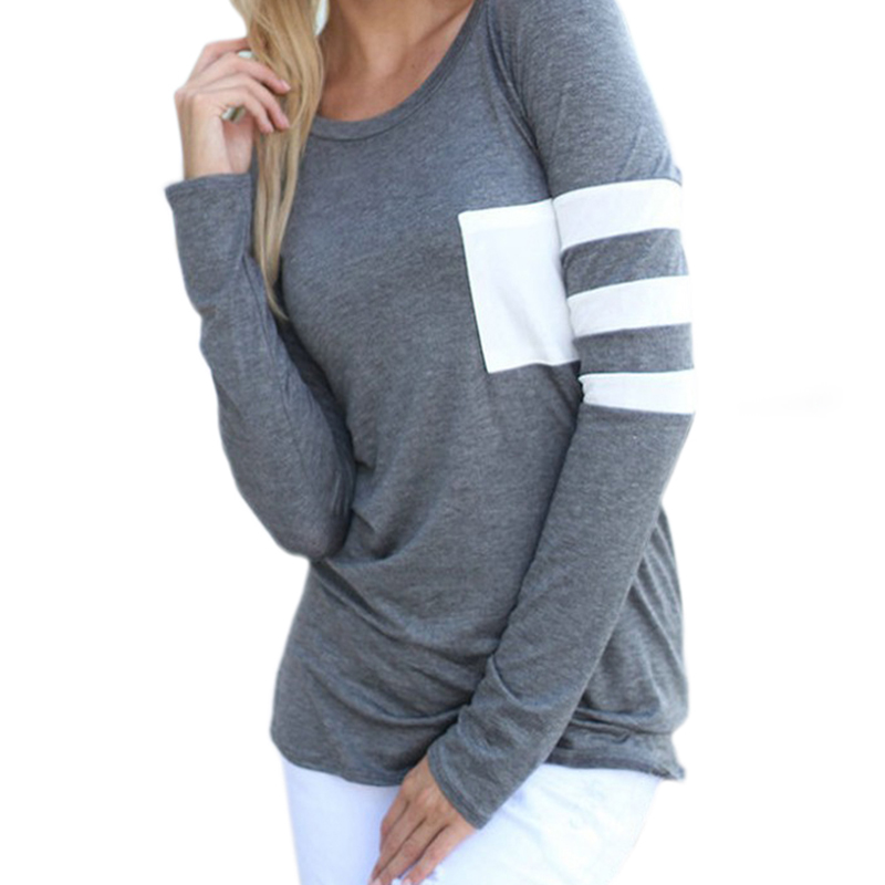 Plus Size Female O-Neck Long Sleeve Casual Simple T Shirts Pocket Patchwork Tops 2019 Spring Women Striped T-Shirts Tees GV257