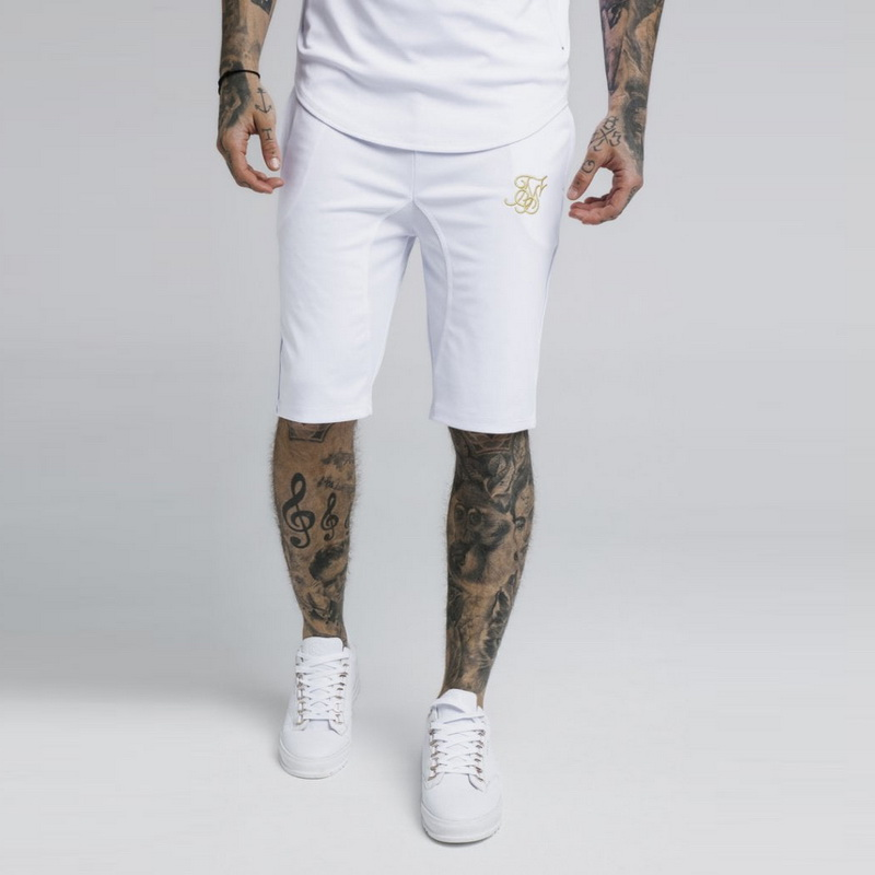 Men Cotton Sik Silk Embroidery Gyms Fitness Bodybuilding Casual Joggers Workout Brand Sporting Short Pants Sweatpants Sportswear